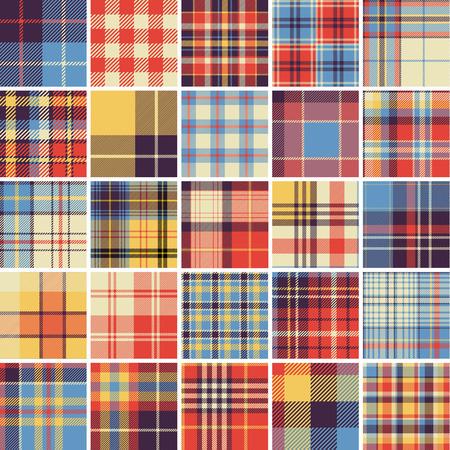 Big set of seamless tartan patterns