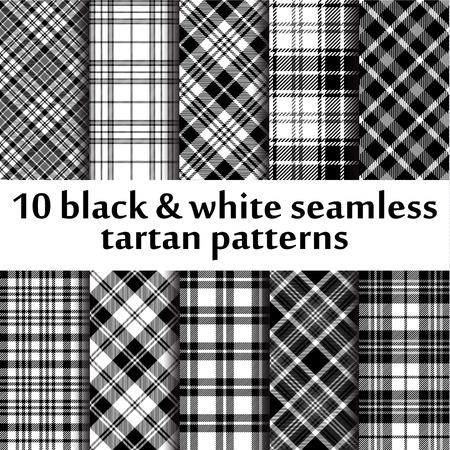 keltische muster: 10 b & w nahtlose Tartan Muster