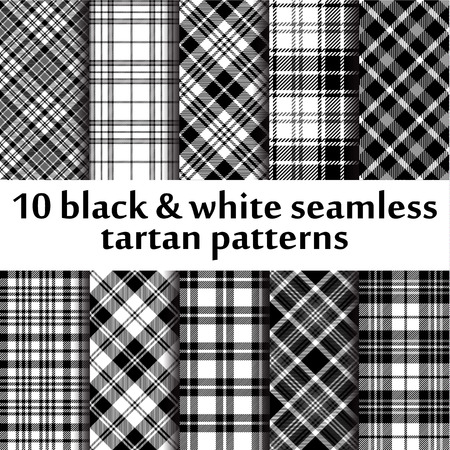 black and white celtic: 10 b&w seamless tartan patterns Illustration