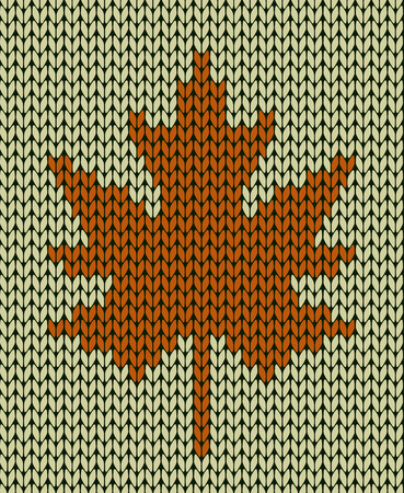 knit: Seamless knit texture with maple leaf
