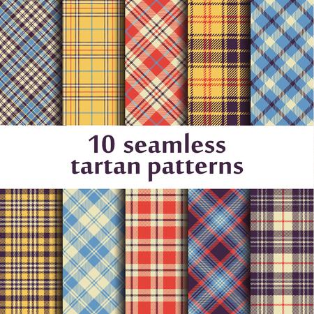 10 seamless tartan patterns Illustration