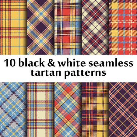 table decor: Set of 10 seamless tartan pattern