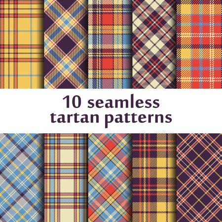 Ensemble de 10 motifs en tartan sans couture.