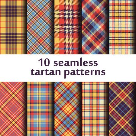 Set of 10 seamless tartan pattern.