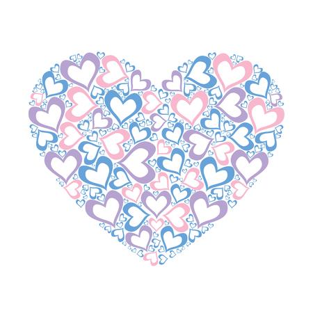 Stylized pink heart vector illustration Çizim