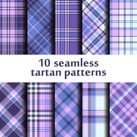Set of seamless tartan pattern.