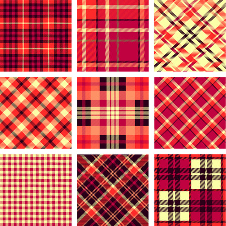 Set of seamless tartan patterns vector illustration.