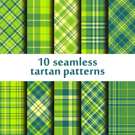 Set of seamless tartan patterns in different shades of green.
