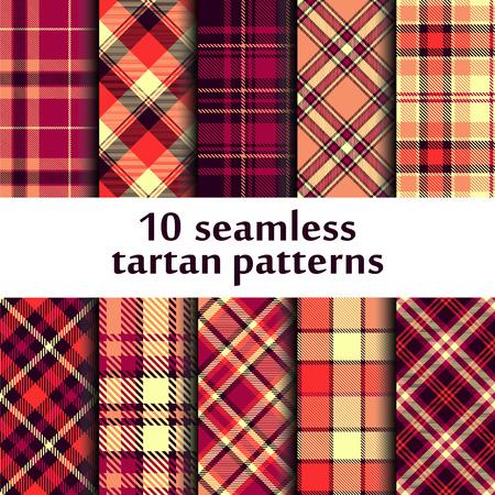 Set of seamless tartan pattern vector illustration.
