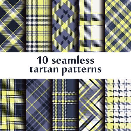 Set of seamless tartan pattern Vector illustration. Vectores