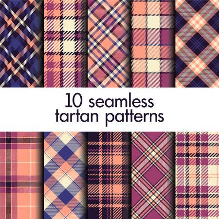 Set of seamless tartan pattern