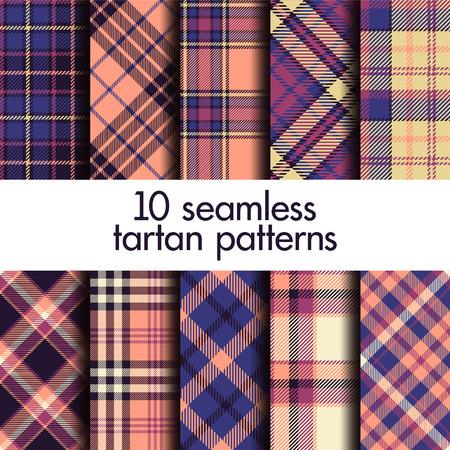 Set of seamless tartan pattern Vecteurs