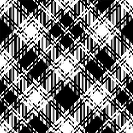 Naadloze tartan zwart-wit patroon