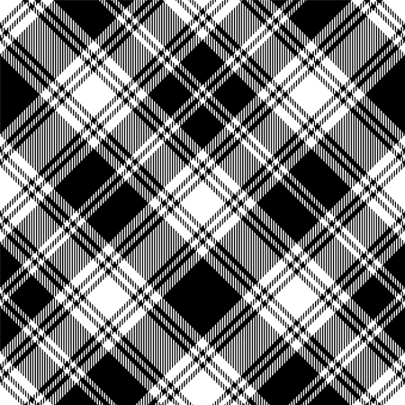 Patrón de tartán blanco y negro sin costura