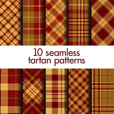 Set of seamless tartan patterns. Vector Illustration