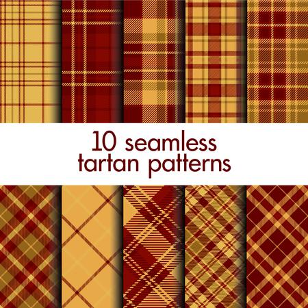 Conjunto de patrones de tartán sin costura. Vector