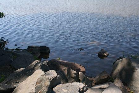 Rocks along the waters edge