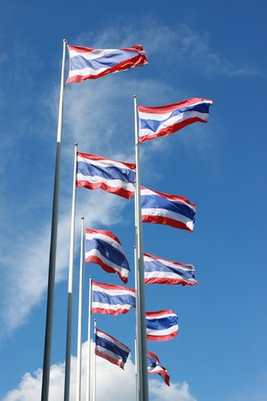 The Thailand Flags on The Blue Sky Background photo