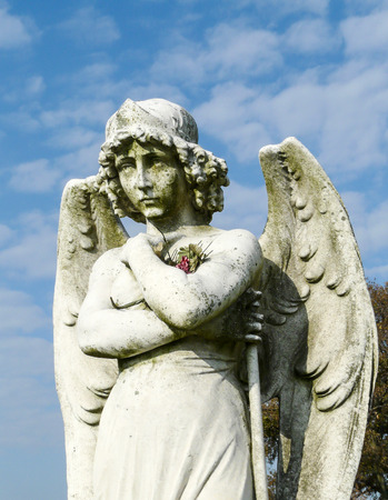 pensiveness: Beautiful, thoughtful angel with flowers