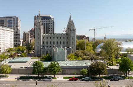 tabernacle: Salt Lake City, UT, USA - May 13, 2008: View at the Temple Square with the Salt Lake Temple in center and Salt Lake Tabernacle at right.