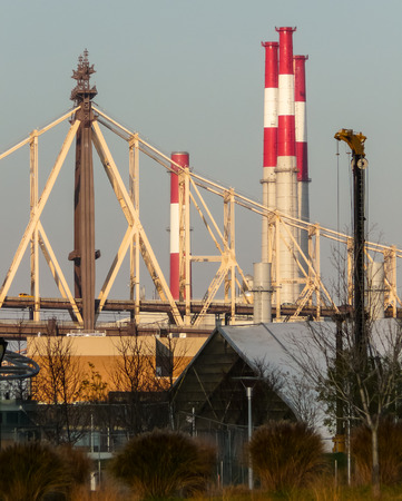 Queensborough bridge with four chimneys - view from Hunters Point, Queens. Stock Photo