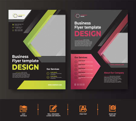 green red Business Flyer template set for cover brochure corporate premium vector