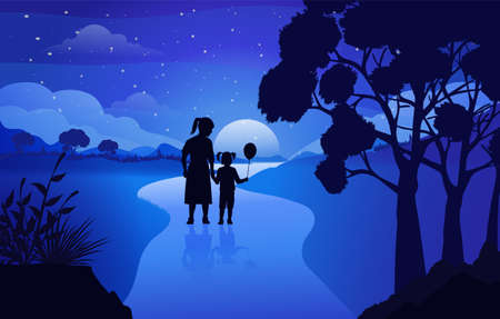Mountain road with mountain views and night sky landscape background, the child with his mother walks together