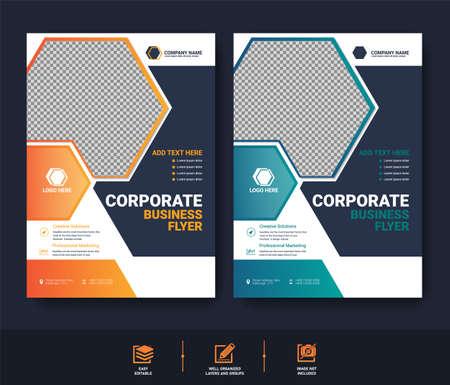 Abstract Business Flyer template set for cover brochure corporate Vektoros illusztráció