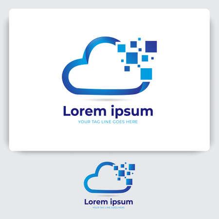 pixel cloud logo design. data server cloud technology vector