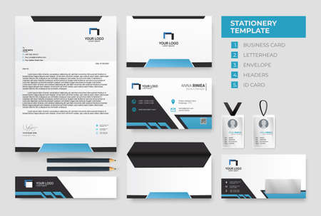 Modern blue Corporate Identity template. Business Stationery Template Design Kit vector Vettoriali