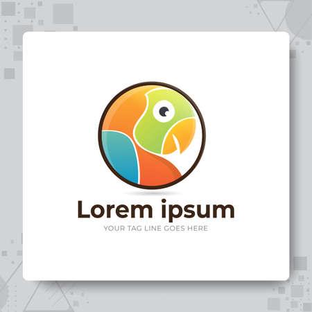 Circle Parrot Logo Design Template 矢量图像
