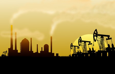 oilfield: Illustration of oilfield from mining devices Stock Photo