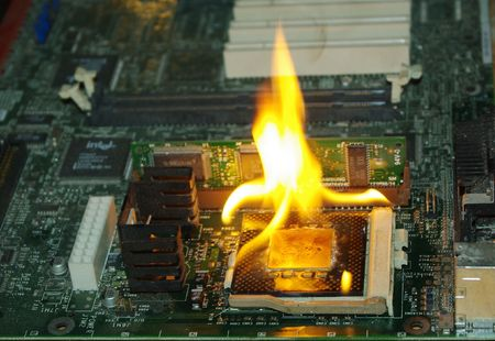 overheating: burning processor on motherboard