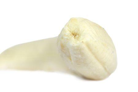 peeled banana: peeled banana on white background Stock Photo
