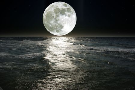 'starry night': moon and his reflection in water