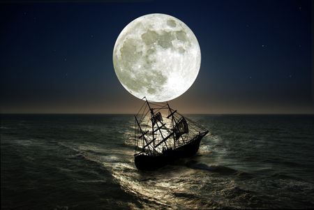 struggling from storm sailing-ship Banque d'images