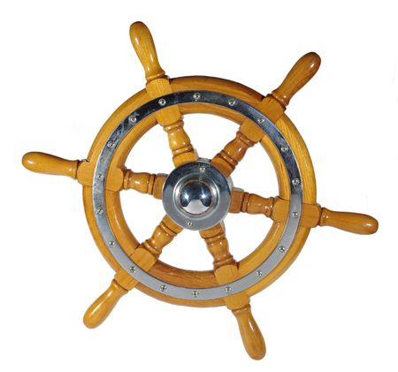 wooden metal wheel steering us white background