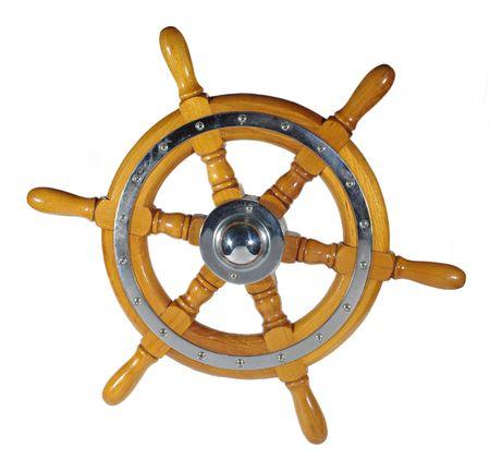 wooden metal wheel steering us white background   photo
