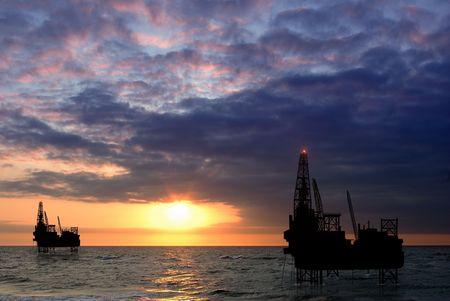 drilling platform on sea Stock Photo