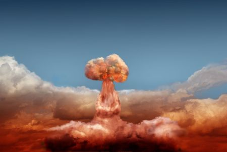 hydrogen bomb: explosion of atomic bomb on background of sky