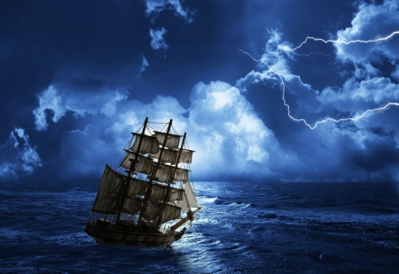 black sea: struggling from storm sailing-ship Stock Photo