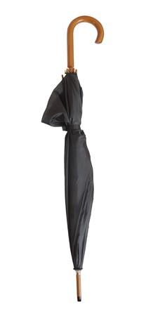 closed black umbrella on white background