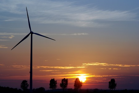 wind turbine on sunset background Stock Photo - 7162142