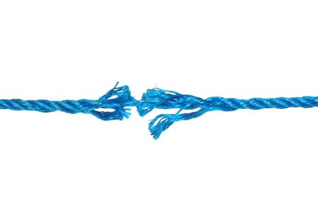 severance: sought-after blue rope on white background Stock Photo