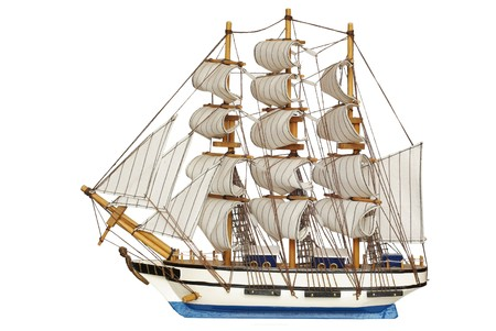 sailing-ship under full sails on white background Banque d'images