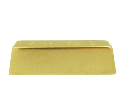 gold ingot: gold bar on white background Stock Photo