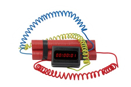 electronic time bomb on white background photo
