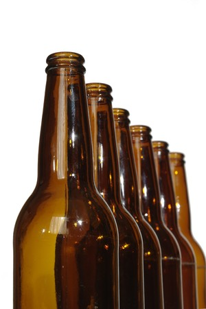empty after beer standing in line bottles  Stock Photo - 7765539