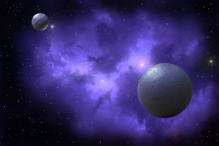 two planets on background of nebula Stock Photo - 7984692