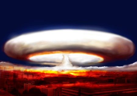 hydrogen bomb: explosion of nuclear bomb over city Stock Photo